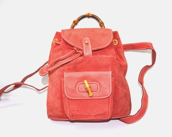 9faa8203a36e FREE Ship Gucci Bamboo Small Mini Backpack Rucksack Dark Salmon Pink Suede Leather  Vintage Authentic