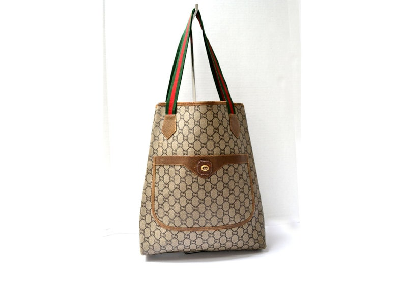 9b3fe0edec47 FREE Ship Gucci Plus Vintage Tote Bag Handbag Shopper Shoulder | Etsy