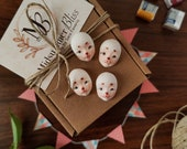 Doll faces for plush doll and doll making, 4 sculpted paint or white Bunny faces