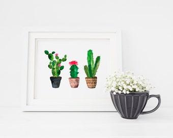 Watercolor Cactus Wall Art, Botanical Print, Rustic home decor, Watercolor Cactus Art, Nursery Decor, Tropical Wall Art, Cactus Print, 8x10