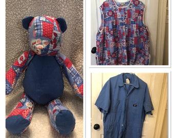 Memory bear, memorial bear, keepsake, old clothes, baby clothes