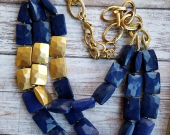 Navy Blue Necklace 1980s Multi Strand Necklace Triple Strand Necklace Dark Blue Necklace Gift for Her Gift for Mom Gift for Teacher Goldtone