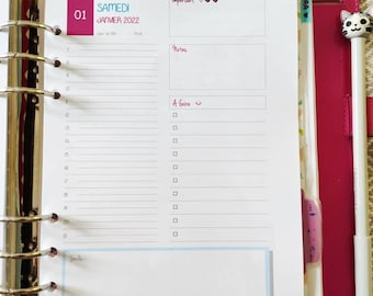 Recharge for agenda A5 rings year 2022 ready to send 1 day per page