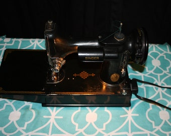Singer Featherweight with Leather Handle