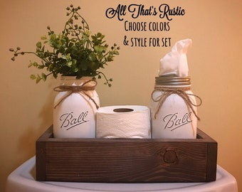 Bathroom Decor, Toilet Paper Holder, Toilet Paper Storage, Tissue Holder, Mason Jar Decor, Bathroom Storage, Home Decor, Rustic Home Decor
