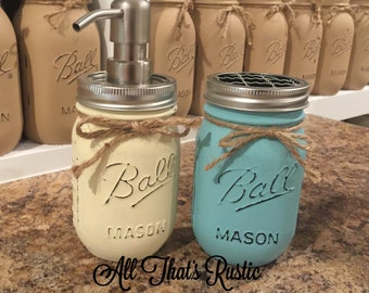 2 Piece Mason Jar Bathroom Set, Mason Jar Bathroom Set, Toothbrush Holder, Soap Dispenser, Mason Jar Soap Dispenser, Rustic Decor, Mason Jar