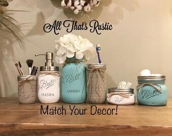6 Piece Mason Jar Bathroom Set, Mason Jar Bathroom Set, Mason Jar Decor, Rustic Bathroom Decor, Rustic Home Decor, Housewarming Gift, Rustic