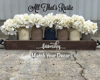 Large Dining Room Table Centerpiece Centerpieces Kitchen Decor Farmhouse Mason Jar CenterpieceFamilyMason DecorRustic