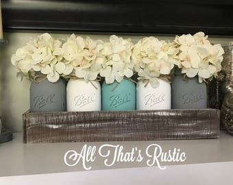 Planter Box With Mason Jars Jar Centerpieces Decor Rustic Home Table Centerpiece CenterpieceWood