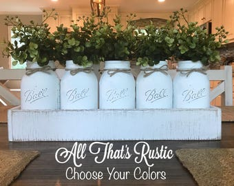 Farmhouse Table Decor, Centerpiece, Mason Jar Decor, Mason Jar Centerpiece, Farmhouse Decor, Table Decor, Housewarming Gift, Home Decor,Gift