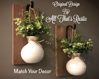 Set of 2 Wall Sconces, Rustic Wall Decor, Wall Decor, Rustic Home Decor, Ceramic Vase, Ceramic Planter, Hanging Planter, Hanging Sconce