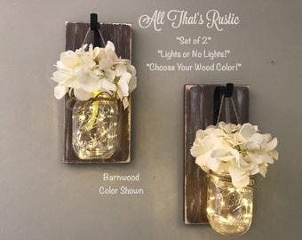 Barnwood Mason Jar Sconces, Mason Jar Sconces, Sconces, Lighted Mason Jars, Hanging Sconce, Rustic Home Decor, Wall Decor, Rustic Wall Decor