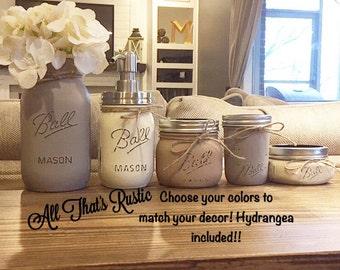 5 Piece Mason Jar Bathroom Set, Bathroom Set, Mason Jar Bath Set, Mason Jar Decor, Painted Mason Jars, Home and Living, Housewarming Gift