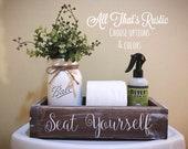 Seat Yourself, Seat Yourself Box, Nice Butt, Hello Sweet Cheeks, Toilet Paper Holder, Toilet Tank Box, Bathroom Decor, Home Decor, Butt Box