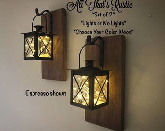 Interior sconce lighting Battery Operated Wall Set Of Lantern Sconces Hanging Sconces Lantern Sconce Wall Sconces Rustic Wall Sconces Rustic Home Decor Lighted Sconces Gifts Craftmade Wall Sconce Etsy