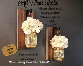 Rustic Home Decor, Home U0026 Living, Set Of 2 Hanging Mason Jar Sconces With  Hydrangeas, Mason Jar Decor, Timer Lights, Mason Jar Sconces