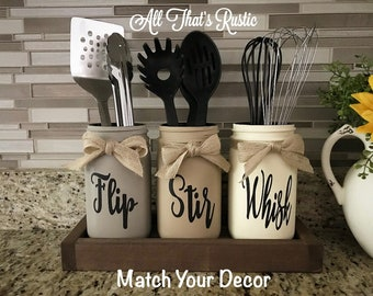 Exceptionnel Flip, Stir, Whisk Utensil Holder, Mason Jar Decor, Kitchen Decor, Rustic  Utensil Holder,Utensil Holder,Mason Jar Utensil Holder,Rustic Decor