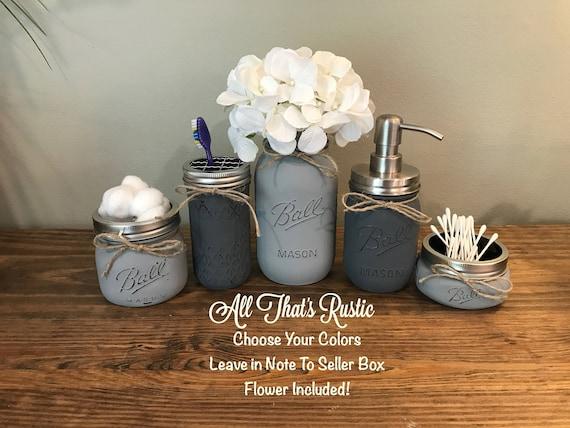 rustic bathroom decor mason jar bathroom set mason jar etsy. Black Bedroom Furniture Sets. Home Design Ideas