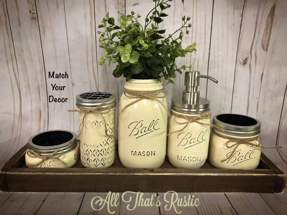 Rustic Home Decor Mason Jar Bathroom Set Rustic Bathroom | Etsy on mason jar pillows, mason jar window treatments, mason jar home, mason jar shabby chic, mason jar kitchen decorations, mason jar shower curtain, canning jar bathroom decor, mason jar paint ideas, mason jar rugs, mason jar gifts for women, mason jar living room, mason jar country decorating, mason jar soap dispenser, mason jar kitchen items, mason jar decorate, mason jar dolls, mason jar pottery, mason jar tables, mason jar clothing, mason jar line art,