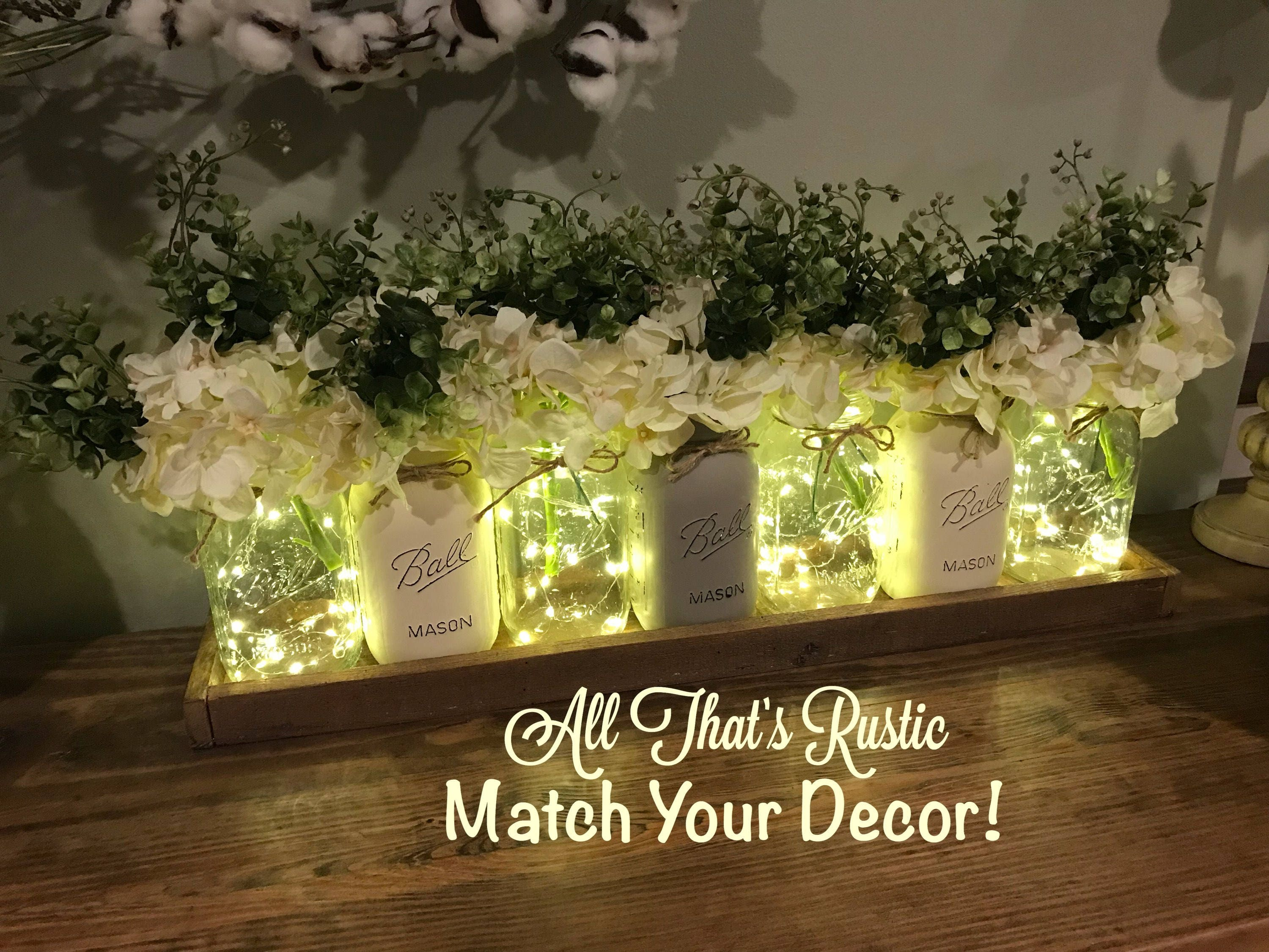 wedding decor, wedding centerpiece, greenery, flower arrangement, mason jar  decor, mason jar centerpiece, rustic wedding decor, rustic decor