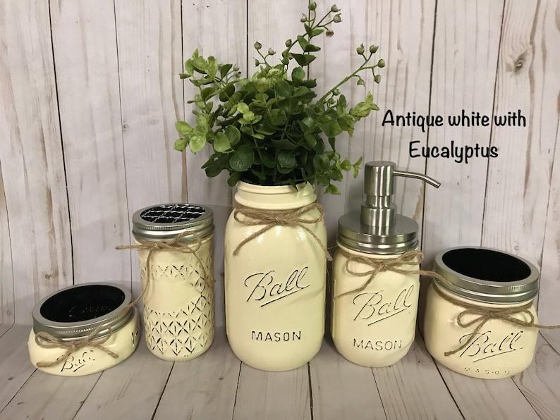 Rustikale Bad Dekor Mason Jar-Badezimmer-Set Mason Jar | Etsy