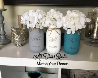 Set of 3 Hand Painted Mason Jars, Teal Mason Jars, White Mason Jars, Gray Mason Jars, Mason Jar Decor, Rustic Decor, Painted Mason Jars