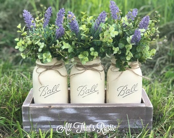 Table Centerpiece, Mason Jar Centerpiece, Mason Jar Decor, Lavender, Centerpiece, Rustic Decor, Table Decor, Home Decor, Greenery, Gift