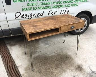 Rustic Industrial Plank Desk with Metal Hairpin Legs - chunky wood vintage retro