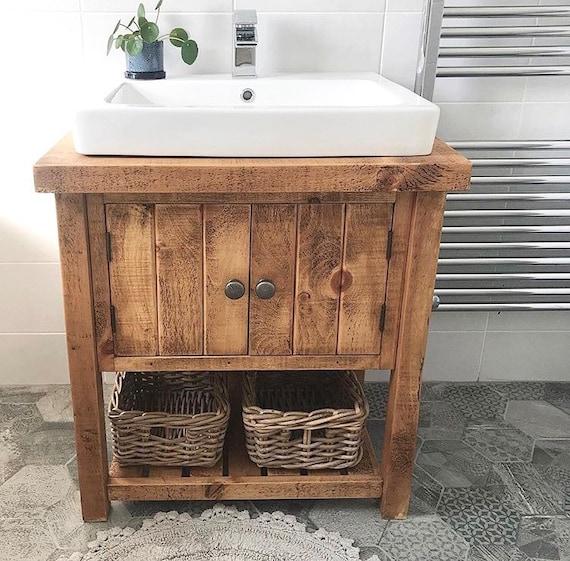 Rustic Chunky Solid Wood Bathroom Washstand Vanity Sink Unit Etsy