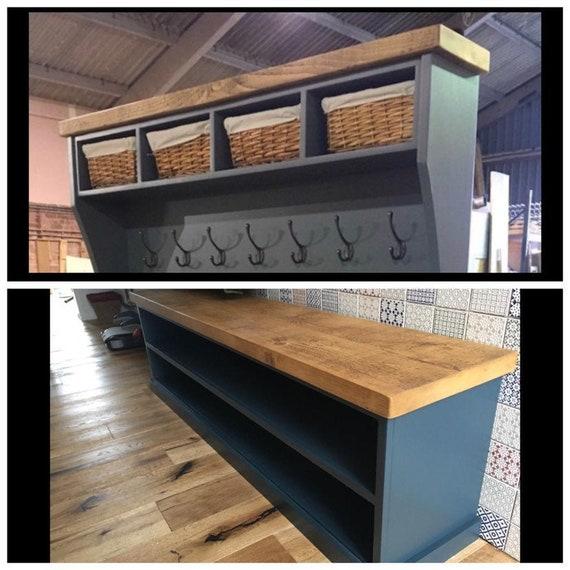 FARROW & BALL142cm Painted Shoe Bench Coat Rack with Shelf | Etsy