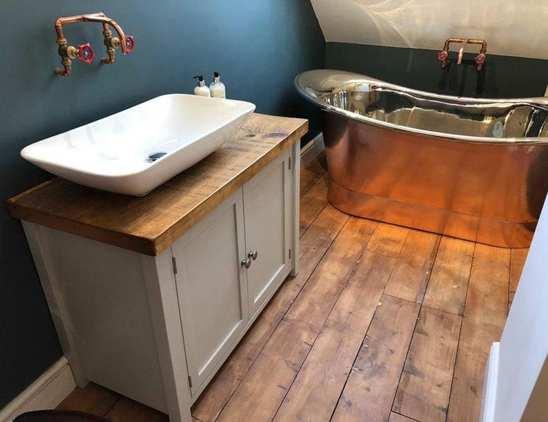Rustic Chunky Farrow & Ball Painted Solid Wood Bathroom image 0