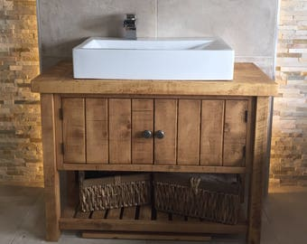 Rustic Chunky Solid Wood Bathroom Washstand Vanity Sink Unit MEDIUM *6 SIZES* *Not included - sinks/taps/baskets