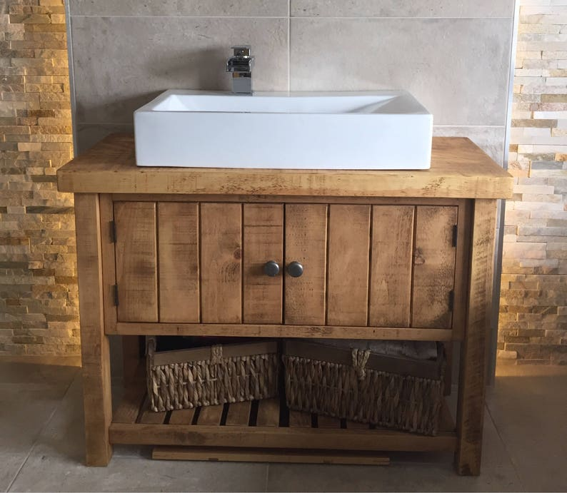 Rustic Chunky Solid Wood Bathroom Washstand Vanity Sink Etsy