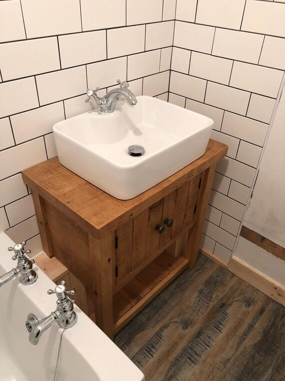 Remarkable Rustic Chunky Solid Wood Bathroom Washstand Vanity Sink Unit Medium 6 Sizes Not Included Sinks Taps Baskets Download Free Architecture Designs Griteanizatbritishbridgeorg