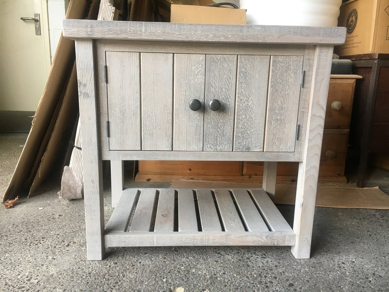 Grey Wash Rustic Chunky Solid Wood Bathroom Washstand Vanity Etsy