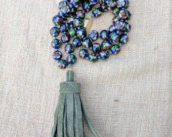 Vintage Floral Cloisonne Beads with Upcycled Suede Tassel Necklace
