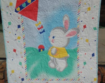 Easter quilt etsy baby quilt bunny baby quilt bunny quilt crib quilt nursery decor negle Images