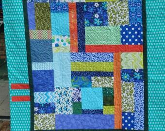 modern quilt, baby quilt, gender neutral baby quilt, lap quilt, toddler quilt, kid's quilt, blue quilt