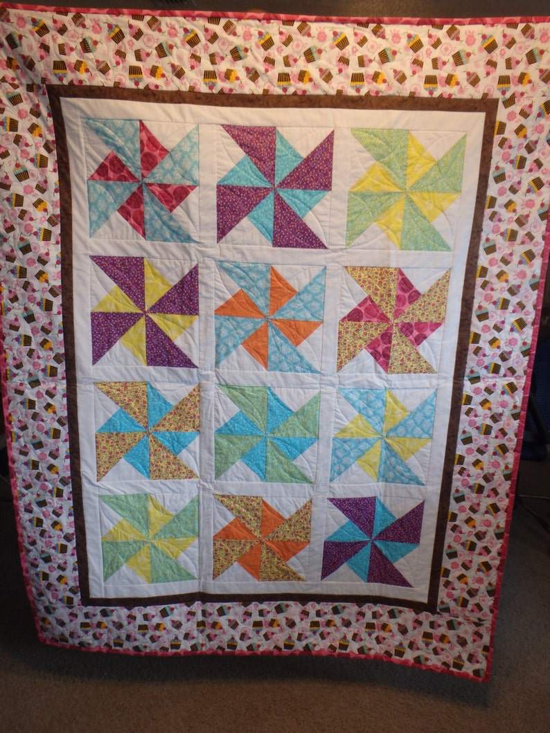 gifts for girls pink quilt single bed quilt pink and brown quilt lap throw girl/'s quilt cupcake quilt teen quilt