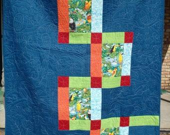 modern quilt, bird quilt, blue quilt, twin size quilt