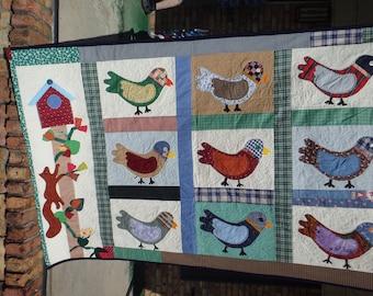 bird quilt, lap quilt, throw quilt,