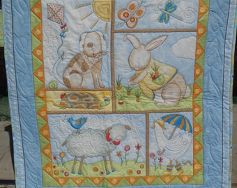baby quilt, gender neutral baby quilt, crib quilt, nursery decor, animal quilt