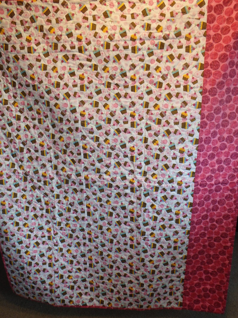 teen quilt pink and brown quilt gifts for girls cupcake quilt lap throw girl/'s quilt single bed quilt pink quilt