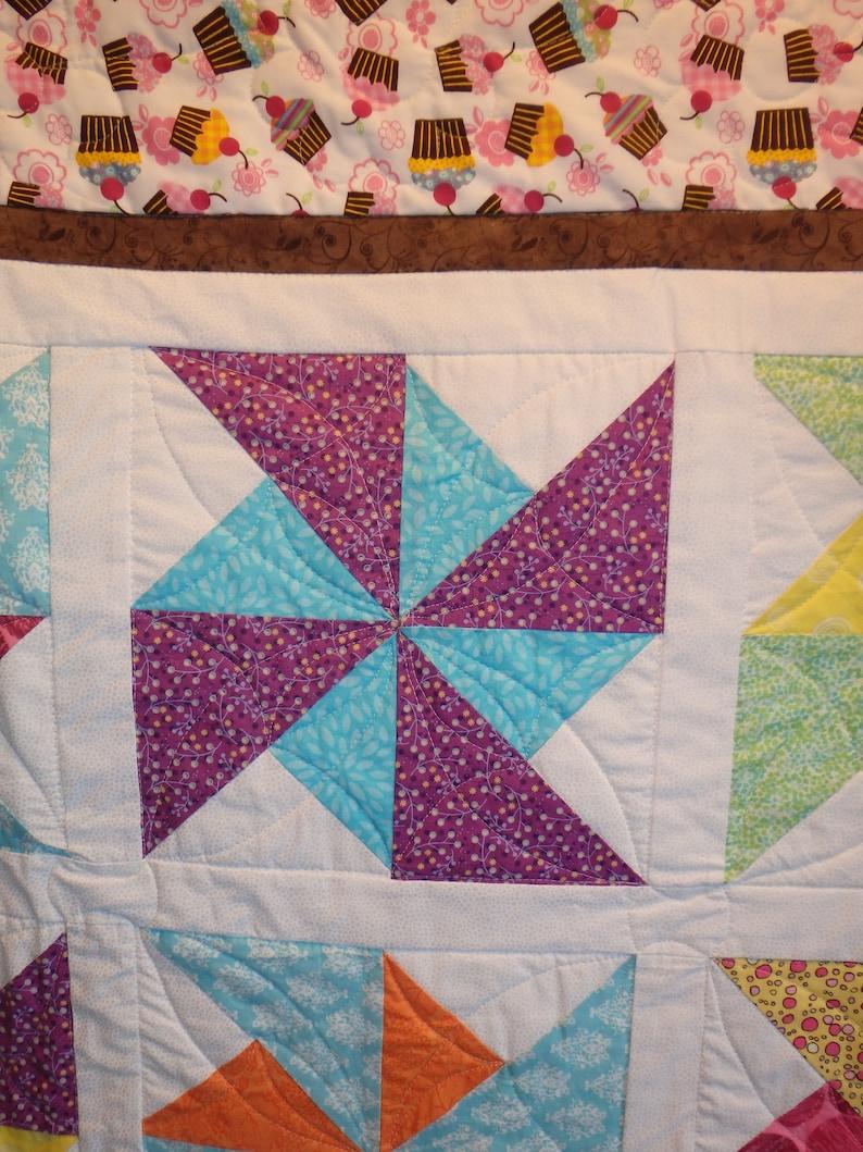 crib quilt cupcake quilt child/'s quilt girl/'s quilt pink quilt lap quilt
