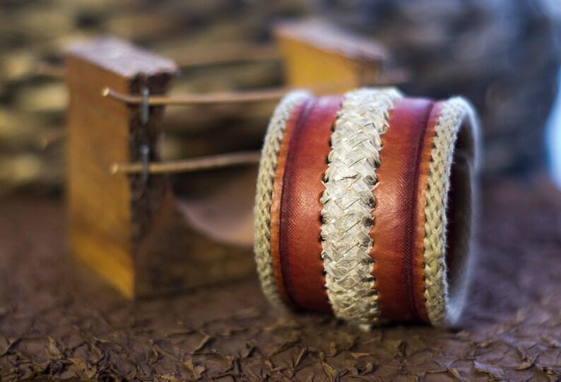 Handmade Leather Bracelet Icelandic fish Salmon skin Accessory Leathercraft Fashion style Original gift Souvenir