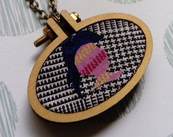 Mini Embroidery Hoop//Pendant//Punk Rock//Cameo//Necklace//Gifts for Her