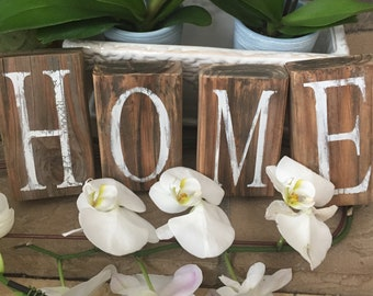 Home Sign Wood Blocks Hand Painted Wood Sign Distressed Home Sign Decor Farmhouse Rustic Home Wood Sign Reclaimed Hand Painted Wooden Sign