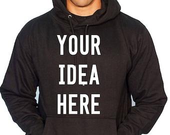 Custom Hoodie, Womens Mens Custom Sweatshirt, Personalized, Customized Apparel, Custom Sweats Custom Printed Monogram Hooded Sweats Shirts