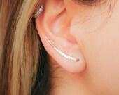 Gold Earrings- Ear Climber Earrings- Gold Ear Climber- Ear Crawler- Bar Earrings- Gold Bar Earrings- Earclimber- Climbing Earrings