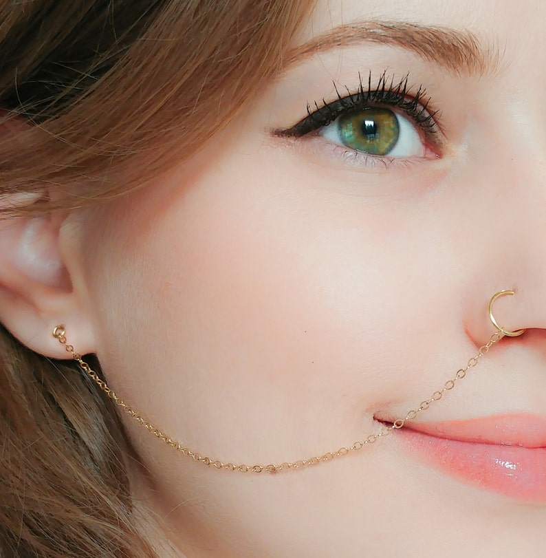 Nose Ring Chain Nose Ring Hoop Ear Chain Nose Ring Nose Ring Chain Earring Nose Hoop Chain Chain Earring Tribal Jewelry Indian Jewelry